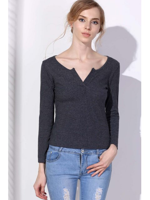 new Long Sleeve Notched Pullover Knit Top - GRAY L Mobile