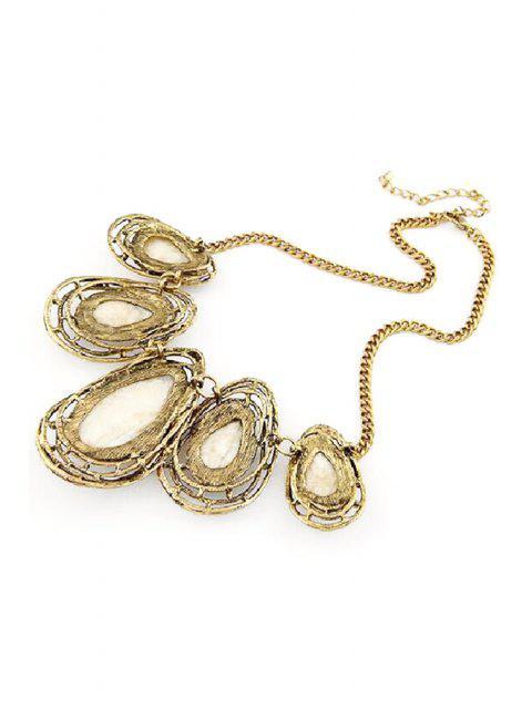 online Faux Gem Water Drop Retro Style Necklace -   Mobile
