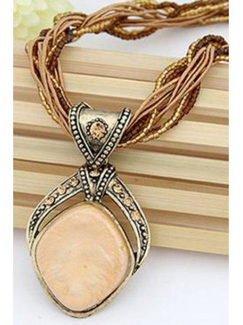 womens Faux Gem Multilayered Retro Style Necklace - APRICOT  Mobile