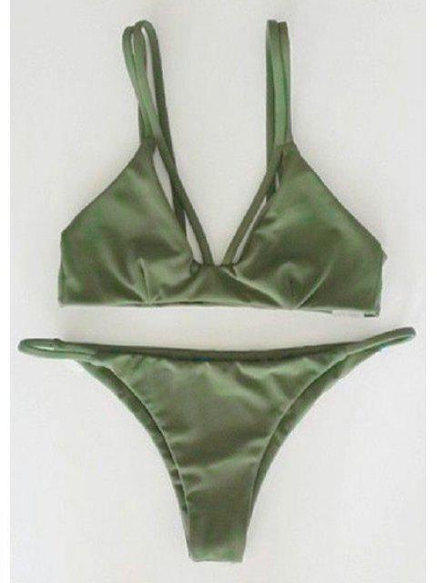 unique Alluring Spaghetti Strap Scrunch Bikini Set - GREEN L Mobile