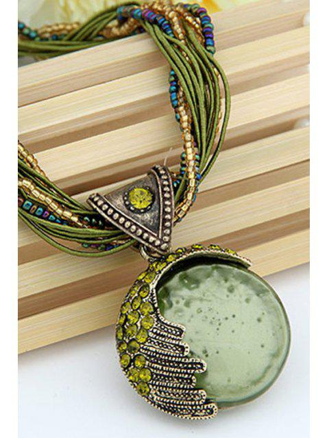 chic Faux Gem Multilayered Ethnic Style Necklace -   Mobile
