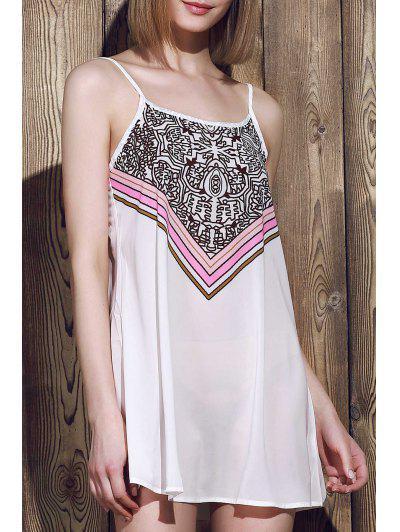 Spaghetti Strap Stripes Print Sleeveless Dress - White S