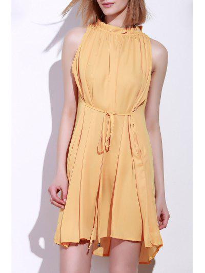فستان دائرة الرقبة كشكش ربطة بلا أكمام - ديب الأصفر Xl