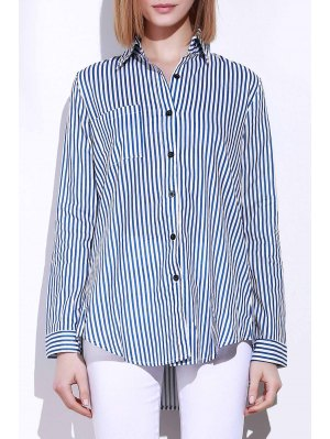 Camisa De Manga Comprida Azul Listras Brancas - Azul E Branco L