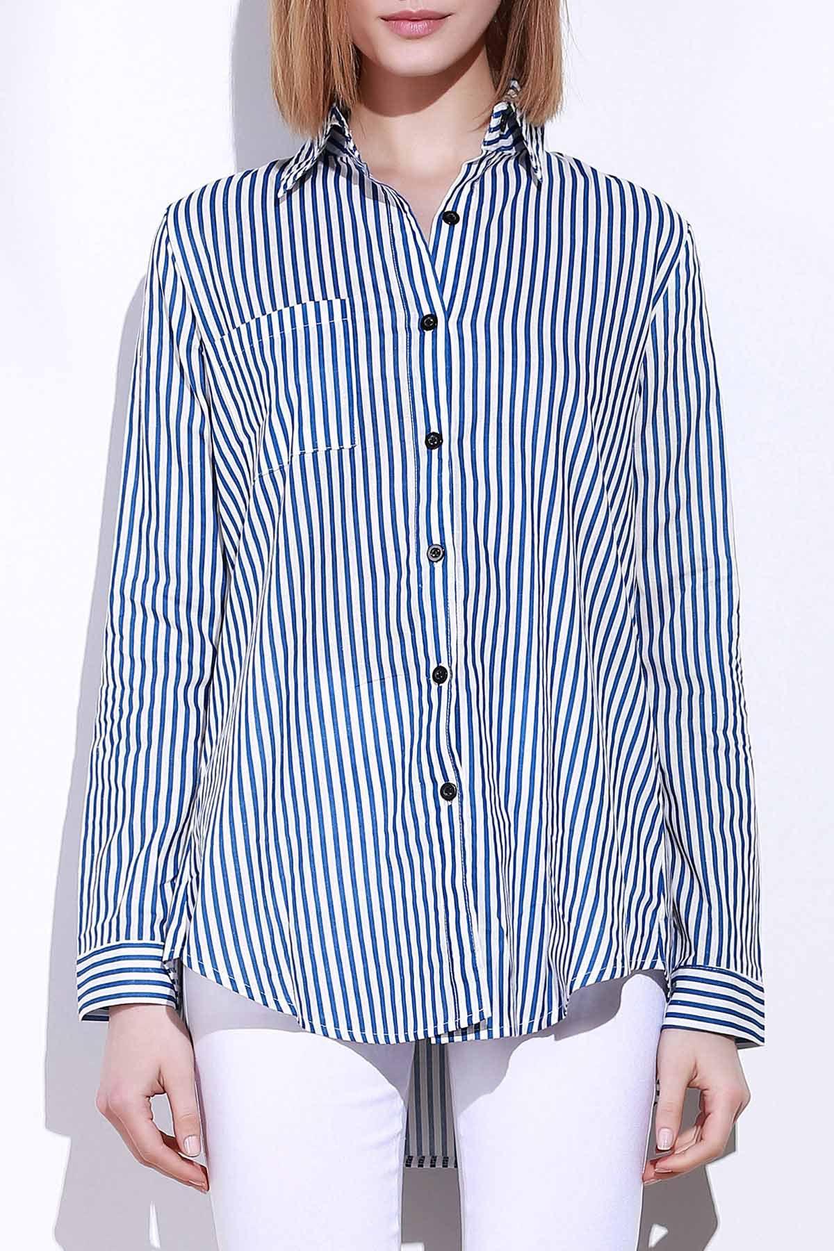 Blue White Stripes Long Sleeve Shirt 144905103