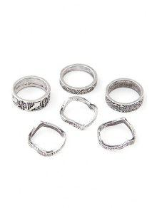 Buy Tribal Style Carve Golden Rings - SILVER ONE-SIZE