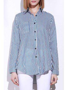 Blue White Stripes Long Sleeve Shirt - Blue And White M