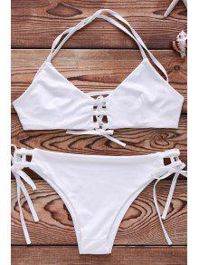 Ensemble Bikini Couleur Unie à Lacet - Blanc Xl