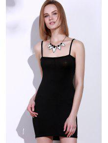 فستان مصغر قطع بلا أكمام حزام السباغيتي ضيق - أسود M