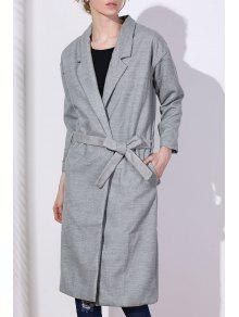 Lapel One Button Solid Color Trench Coat - Gray L