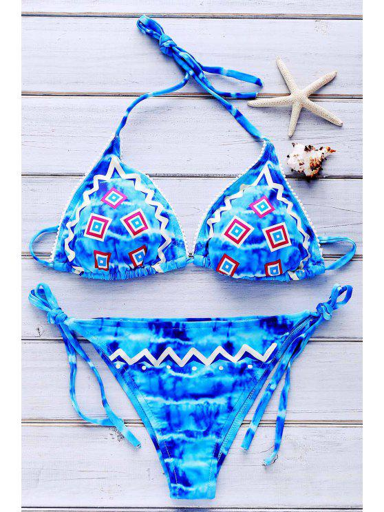 outfit Tie Dye Embroidery Halter Bikini Set - BLUE L