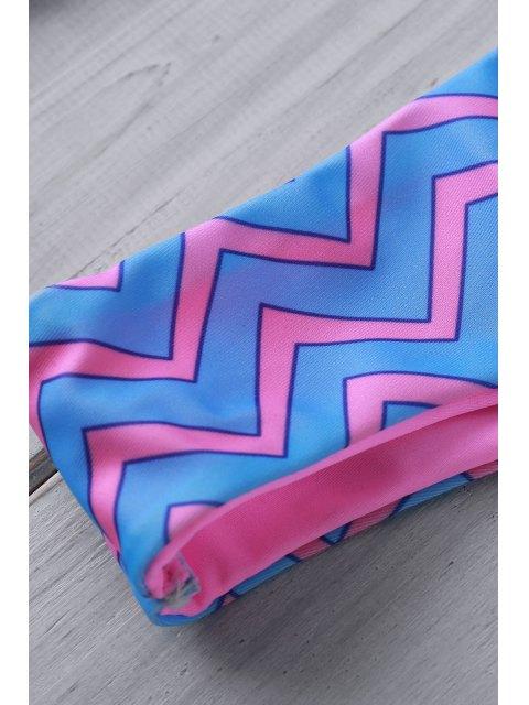 shops Zig Zag Print Halter Reversible Bikini Set - BLUE L Mobile