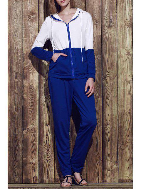 fancy Color Block Hoodie and Sweatpants Sweat Suit - BLUE XL Mobile