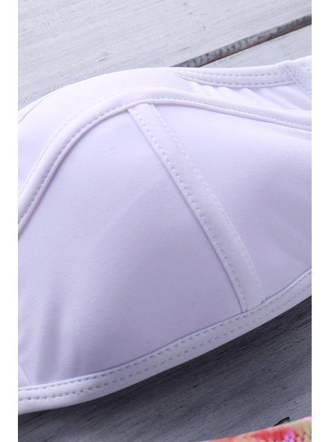 fashion Floral Print Strapless Bikini Set - WHITE M Mobile