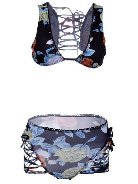 Knospen Out Floral Bikini Set - Schwarz M Mobile