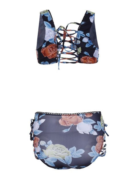 chic Buds Out Floral Bikini Set - BLACK S Mobile