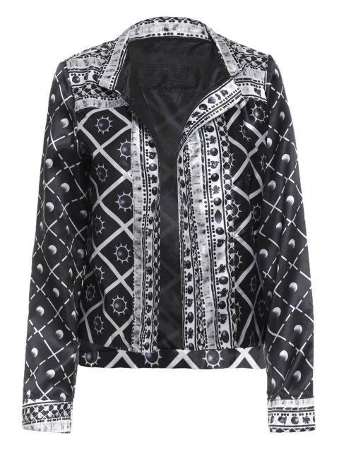shop Checked Sun Print Thin Jacket - BLACK M Mobile