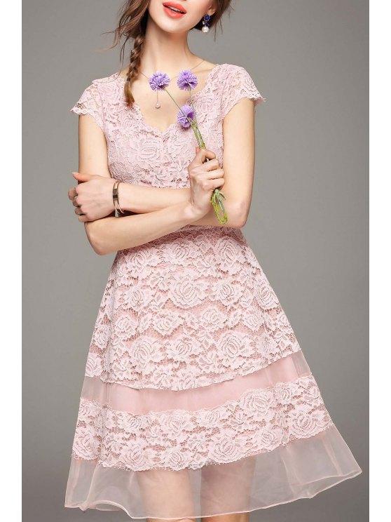 Lace A Line Wedding Guest Cocktail Dress LIGHT PINK: Lace Dresses M ...