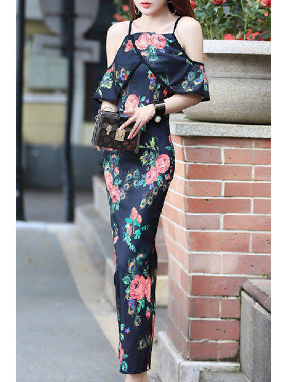 Seducenti della cinghia di spaghetti della stampa floreale scava fuori il vestito con lo spacco per le donne - colori misti Tagia Unica ( dimensioni XS a M )