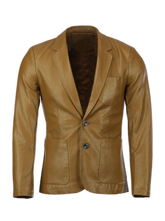 Stereo aufgesetzte Tasche Solid Color-Revers langen Ärmeln PU-Leder-Blazer für Männer - Ingwer-Gelb L
