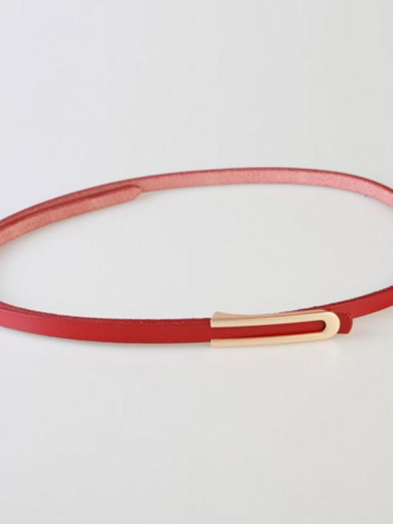 lady Chic Letter U Shape Covered Buckle Solid Color PU Slender Belt For Women - RED