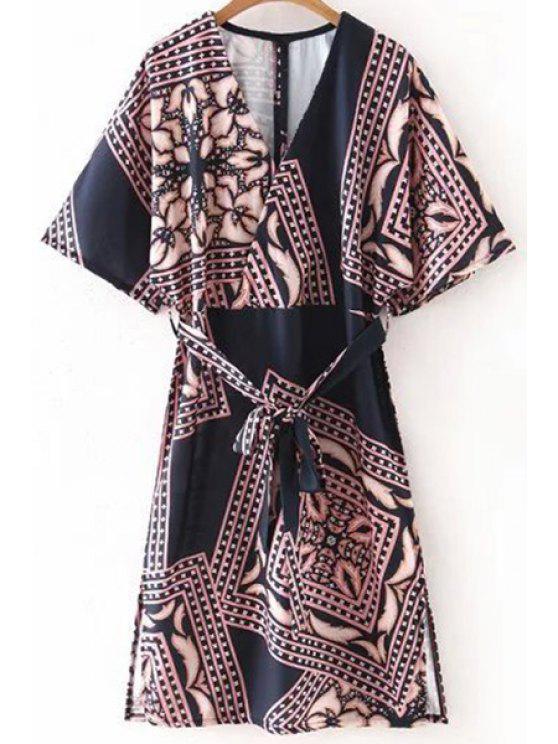 chic Belted Printed Plunging Neck Half Sleeve Dress - BLACK M