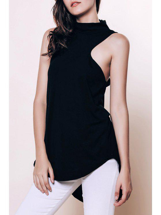 shop Sleeveless Racerback Black Blouse - BLACK M