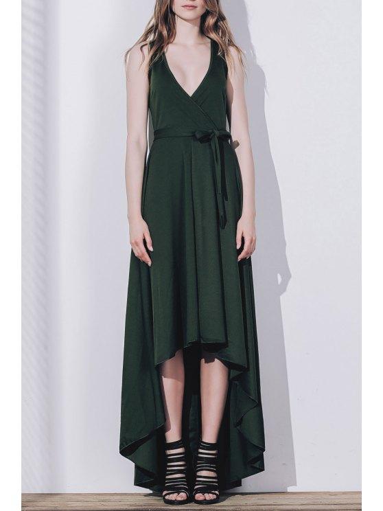 فستان ماكسي بلا أكمام بلون الصلبة مطوي - مسود الخضراء XL