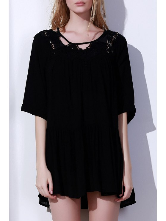 shops Solid Color Cut Out Round Neck Cover Up - BLACK ONE SIZE(FIT SIZE XS TO M)