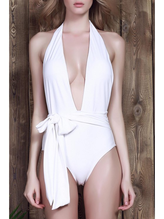 chic Low Cut One-Piece Swimwear - WHITE M