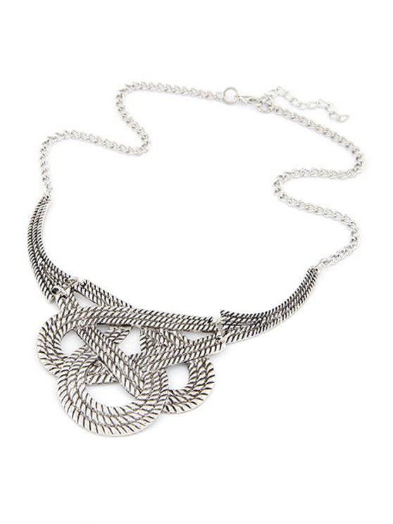 lady Hollow Weaving Knotted Clavicle Necklace - SILVER