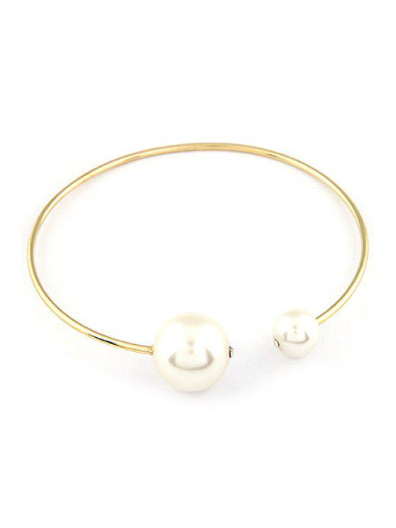 womens Big Faux Pearl Gold Plated Chokers Necklace - GOLDEN