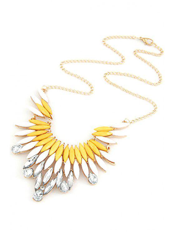 fancy Faux Gem Feather Shape Pendant Necklace - YELLOW