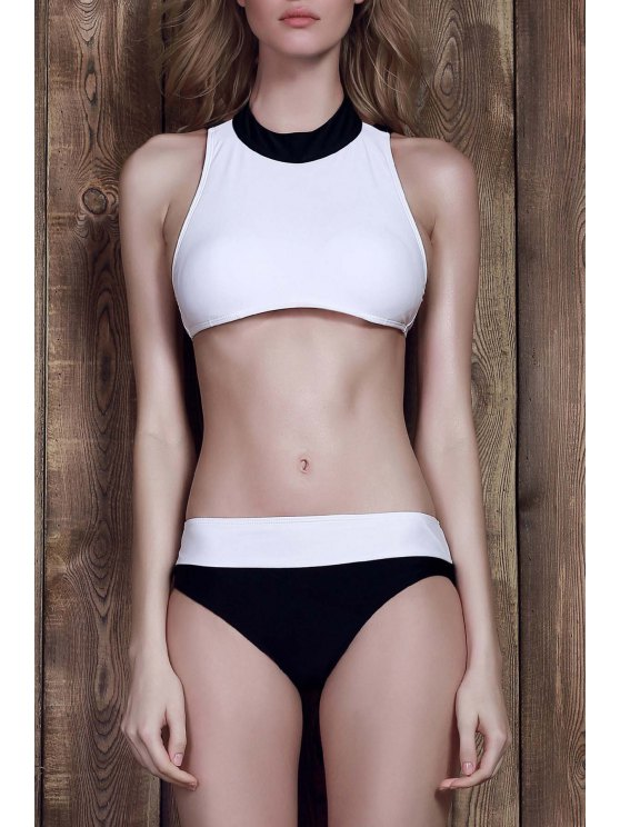 women's Color Block Two-Piece Swimsuit - WHITE S