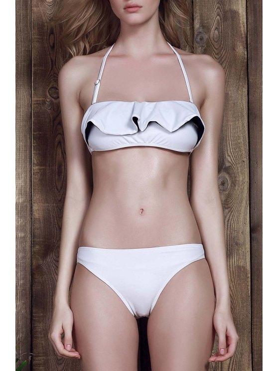 Halter mit Rüschen Two-Tone-Bikini-Satz - Weiß S