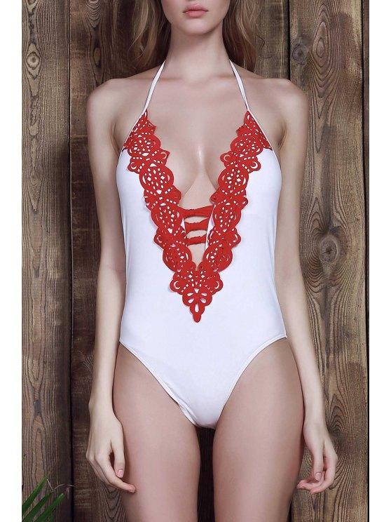 women Halter White One-Piece Swimwear - WHITE M