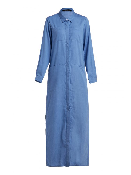 outfits Denim Long Sleeve Maxi Shirt Dress - BLUE L