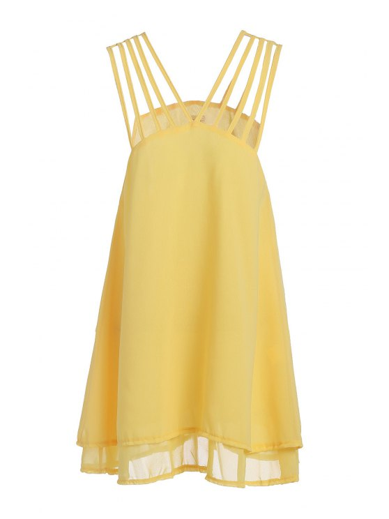 women Yellow Ruffle Spaghetti Strap Dress - YELLOW S