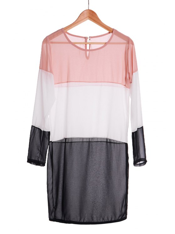 Empalme del bloque del color del vestido de manga larga - Negro S