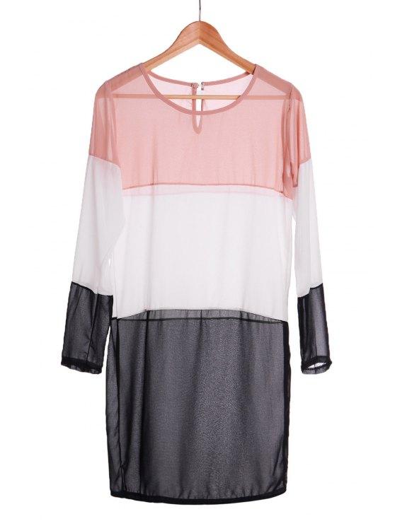 best Splicing Color Block Long Sleeve Dress - BLACK M