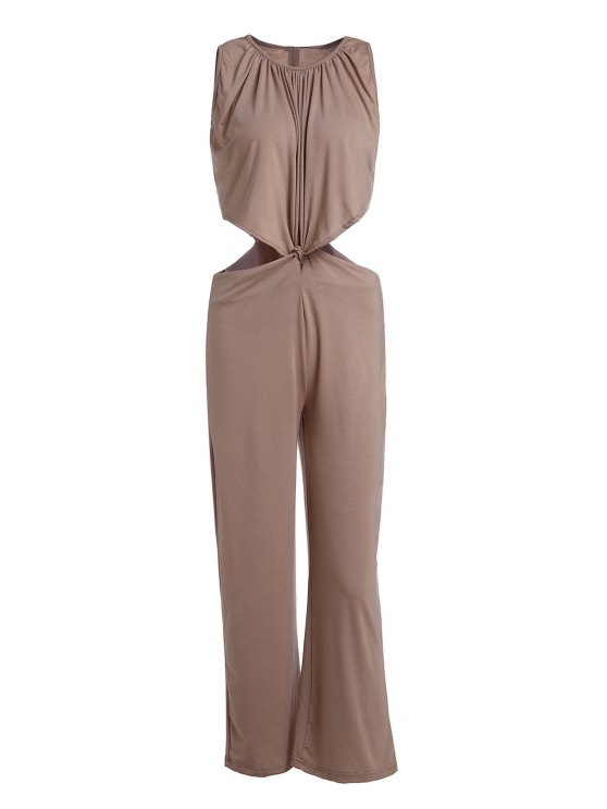 shops Khaki Sleeveless Cut Out Jumpsuit - KHAKI S