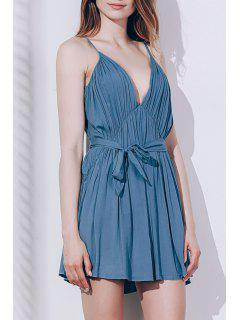 Sexy Spaghetti Strap Sleeveless Solid Color Self Tie Belt Loose Romper For Women - Pea Green Xl