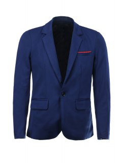 Color Block Polka Dot Spliced Lapel Long Sleeves Single-Breasted Blazer For Men - Deep Blue L