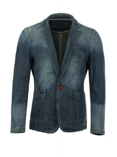 Vogue Lapel Stereo Patch Pocket Long Sleeves Ombre Denim Blazer For Men - Deep Blue Xl