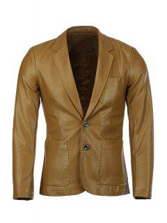 Stereo Patch Pocket Solid Color Lapel Long Sleeves PU Leather Blazer For Men - Ginger L