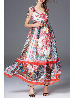 Bohemian Style Chiffon Maxi Dress - S