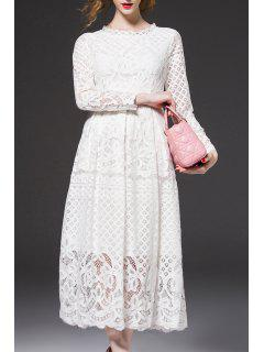 Long Midi Lace Wedding Guest Dress - White L