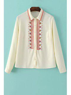 Long Sleeve Shirt Collar Embroidery Shirt - Off-white S