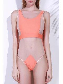 El Color Puro Sin Espalda Del Traje De Baño De Una Sola Pieza - Naranja S