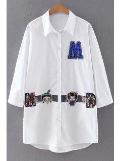 Cartoon Embroidery Shirt Collar Long Sleeve Shirt - White S